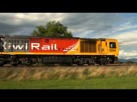 Pacing 2 KiwiRail trains near Feilding - 20FEB12