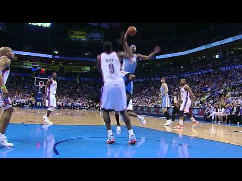 Corey Brewer gets blocked by Serge Ibaka- April 25 2012