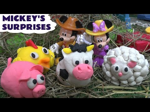 thomas - Disney Junior Mickey Mouse Clubhouse Farm Playset with 4 Play Doh Surprise Eggs dressed as farmyard animals. Each Play Doh surprise contains a Disney Wikkeez from a Disney Movie such as The ...