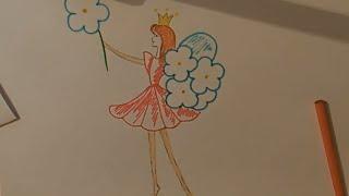 Рисунки карандашом, дюймовочка, для малышей, Colour pencil drawing, Thumbelina, for kids
