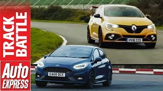Ford Fiesta ST vs Renault Megane RS - Hot hatch track battle by Auto Express