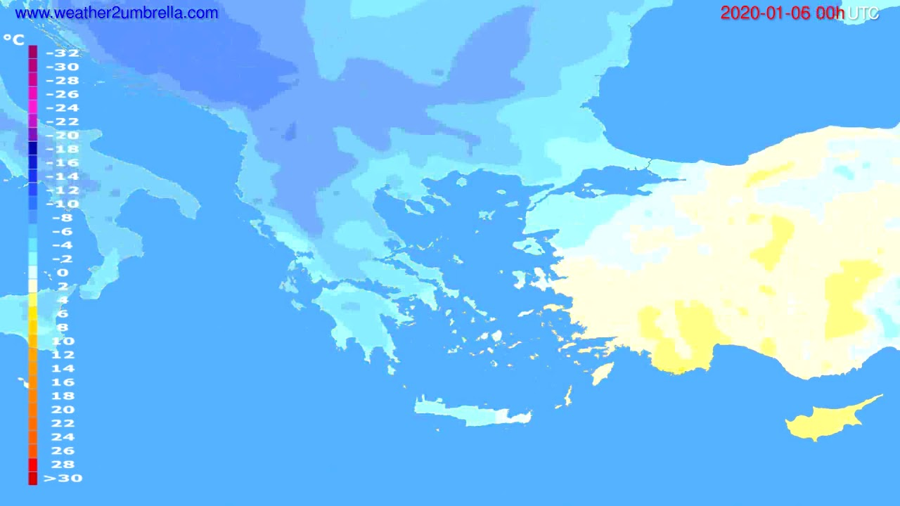 Temperature forecast Greece // modelrun: 00h UTC 2020-01-05