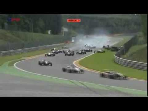 F3 - A Huge crash during the first lap of the Second race of F3 Open at Spa .