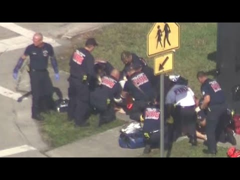 Emergency First Responders Treat Victims of Reported Florida School Shooting