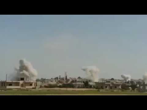 استهداف قوات الأسد لمدينة كفرزيتا براجمات الصواريخ 9/مايو/ 2017