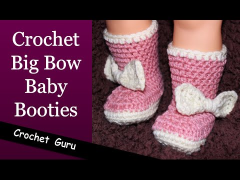 Big Bow Crochet Baby Booties - Newborn to 18 Month Sizes