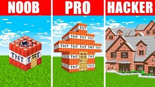 Minecraft NOOB vs. PRO vs. HACKER : TNT HOUSE BUILD CHALLENGE in Minecraft!