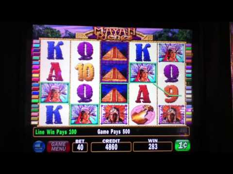 MAYAN RICHES Penny Video Slot Machine with MAYAN PRINCESS WIN Las Vegas Strip Casino