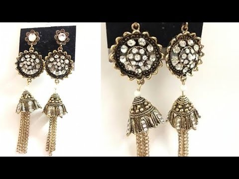 Golden Alloy Crystal Rhinestone Traditional Jhumki Drop Earrings | ZumZum Collection