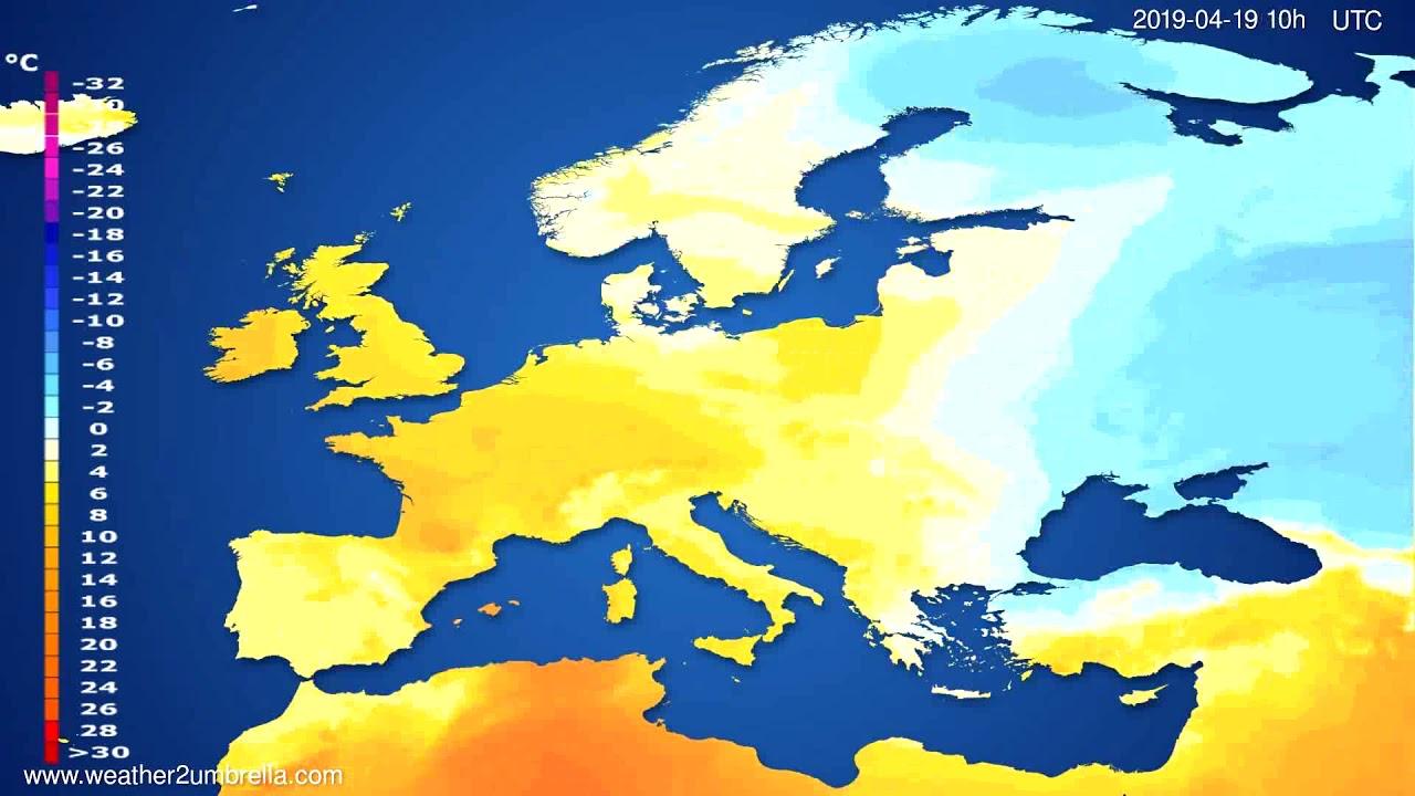 Temperature forecast Europe // modelrun: 12h UTC 2019-04-16