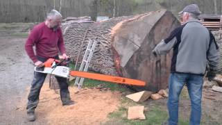 Video Stihl ms 880 150cm vs big oak log MP3, 3GP, MP4, WEBM, AVI, FLV Desember 2018