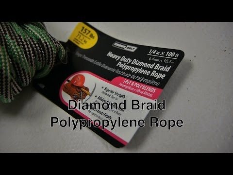 Crown Bolt Polypropylene Rope w/ Diamond Braid Synthetic Poly Blend Fibers to Hold Rope Knots Firm