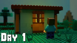 LEGO Minecraft Survival Day 1 (Stop Motion Animation)