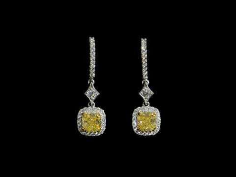 Lady's 18k White/Yellow Gold 2ct (TDW) Matching Fancy Yellow Diamond Dangling Earrings