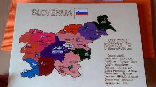 Slovenija z večjimi mesti in namenitistmi. Unikatno ročno delo. naročilo na hot.art.chilli@gmail.com