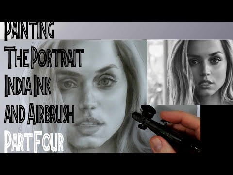 Painting the Portrait in India Ink and Airbrush Part Four