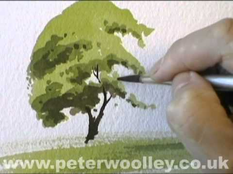 A Simple Tree - Watercolour Demonstration by PETER WOOLLEY:  Professional Artist Peter Woolley demonstrates how to paint a simple tree, in full Summer foliage using a wet-on-dry technique.This demonstration is taken from the WATERCOLOUR FOR BEGINNERS Part 3: Trees in the Landscape DVD, which can be ordered, along with many other titles at www.peterwoolley.co.ukNow, available to order in both PAL and NTSC formats!Sign-up as an ON-LINE STUDENT at www.peterwoolley.co.uk today!