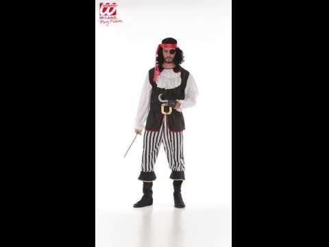 Déguisement de pirates avec haut, pantalon, jabot, ceinture, couvre bottes et bandeau