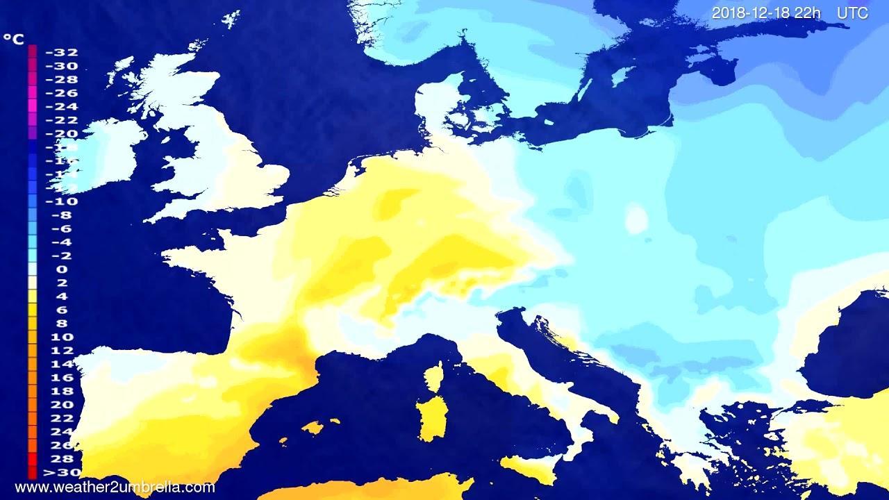 Temperature forecast Europe 2018-12-16