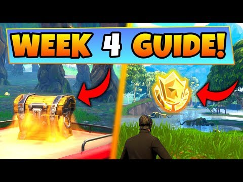 Fortnite WEEK 4 CHALLENGES GUIDE! – WAILING WOODS CHESTS, Treasure Location (Battle Royale Season 4) (видео)
