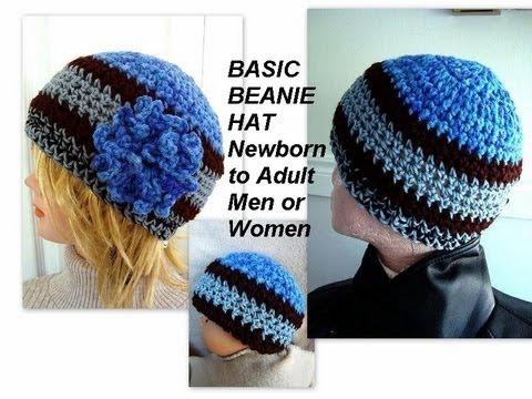 How to Crochet Basic Unisex Beanie Hat , Newborn to adult, baby, boy, girl, men, women, how to diy,