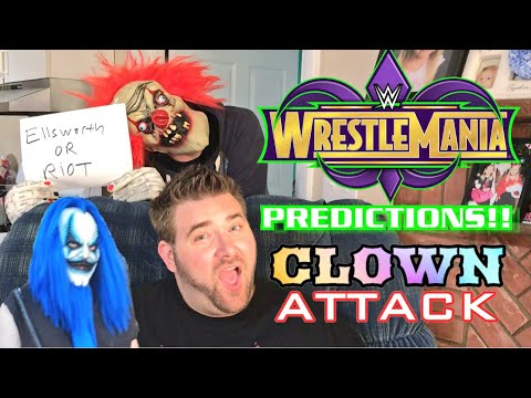 GRIMS WWE WRESTLEMANIA 34 PREDICTIONS STALKED BY CREEPY KLOWN!
