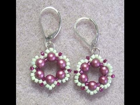 tsummerlee - Sweet little bead woven earrings, using 4mm round Czechs, and two colors of Delicas. Easy to intermediate bead weaving project. 6lb Fireline, leaverback earr...