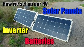 """Our Solar system set up, is one of the biggest questions we get asked about. For those of you that have asked....we have finally put together a video just for you! We dive into the details of our solar set up, our solar panels, our inverter, our chargers, our battery banks and how and why we installed this system. We discuss how it works, how we did it and even how we would change it (looking back in hindsight). This is a very informational video out """"techy-things"""" and RV solar, so it is a little different from our normal travel videos. Hope you enjoy it!Don't forget, we are """"totally"""" social so check out the links below :http://www.totally-trailer.comEmail totallytrailer@gmail.comFacebook: www.facebook.com/totallytrailerTwitter: @totallytrailerInstagram: totally_trailerMusic is found on epidemicsound.com""""Deep into my World 1"""" Composer: Niklas Gustavsson*****List of items that appear in this video:weBoost Connect 4G Cell Phone Signal Boosterhttp://amzn.to/2i5NpN0Amped Wireless High Power Wireless-N 600mW Smart Repeater and Range Extender (SR10000)http://amzn.to/2hdppmy100 Watt 12 Volt Monocrystalline Lightweight Solar Panelhttp://amzn.to/2hUKLJdGo Power! GP-PWM-30 30 Amp Solar Regulatorhttp://amzn.to/2hUHo53RV Flag Pole Kit Motorhome Flag Kit by FlagPole Buddy 22 Feethttp://amzn.to/2hUKia9Samlex PST-2000-24 PST Series Pure Sine Wave DC-AC Power Inverter, 2000W Continuos Power Outputhttp://amzn.to/2nNlwcbSamlex Solar RC-200 PST Series Remote Control for 1500-2000 Watt Modelshttp://amzn.to/2p42T3XDual USB Charger Socket Power Outlethttp://amzn.to/2nNhAbd12V Blue LED Digital Car/Auto Voltmeter Motorcycle Battery Monitorhttp://amzn.to/2neh0apTrojan Trojan 6 Volt Battery T-105http://amzn.to/2p47sevSingle 6V Snap-Top Battery Box for Automotive, Marine, and RV Batteries*****Camera Gear used in this video:SanDisk Extreme 500 Portable SSD http://amzn.to/2hVs5sNWD 2TB Black My Passport Ultra Portable External Hard Drive - USB 3.0 http://amzn.to/2isw3GqSanDisk Ultra 32GB UHS-I/"""