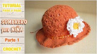 Sombrerito o gorro para niña a crochet paso a paso 1 de 2