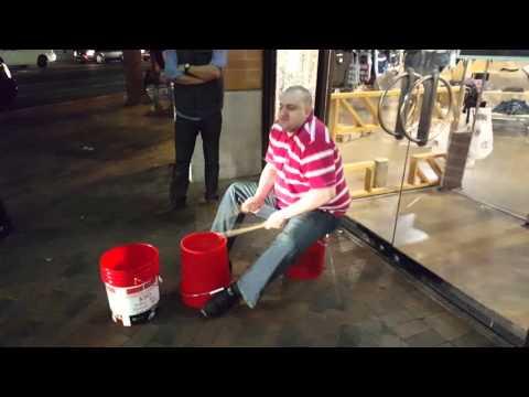 Darion Drums bucket drumming at Mill Avenue, Tempe AZ