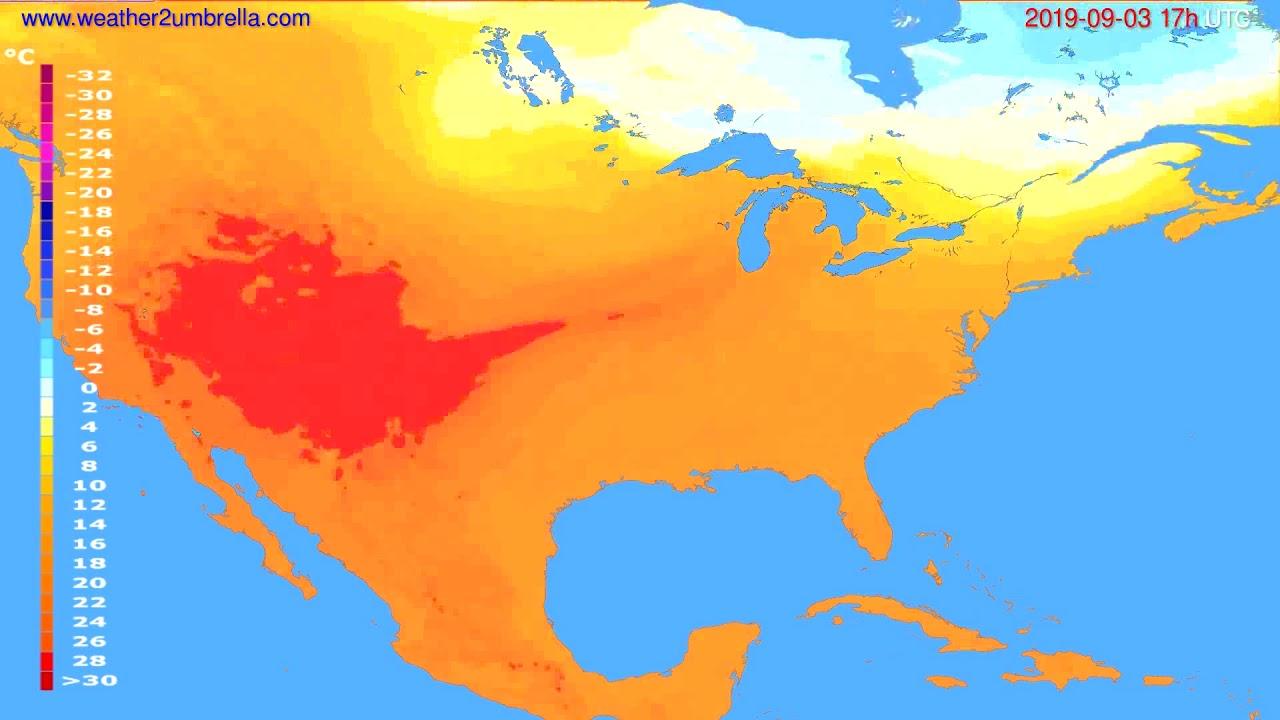 Temperature forecast USA & Canada // modelrun: 00h UTC 2019-09-02