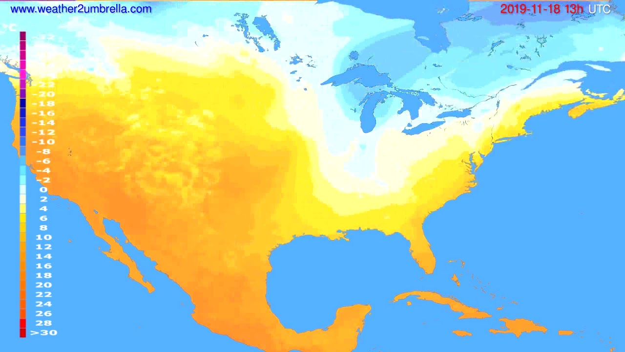 Temperature forecast USA & Canada // modelrun: 00h UTC 2019-11-17