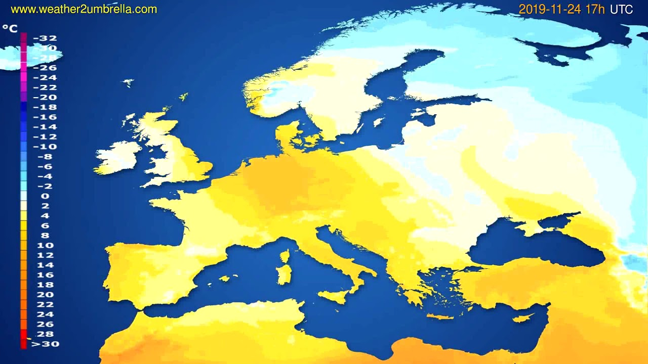 Temperature forecast Europe // modelrun: 12h UTC 2019-11-22