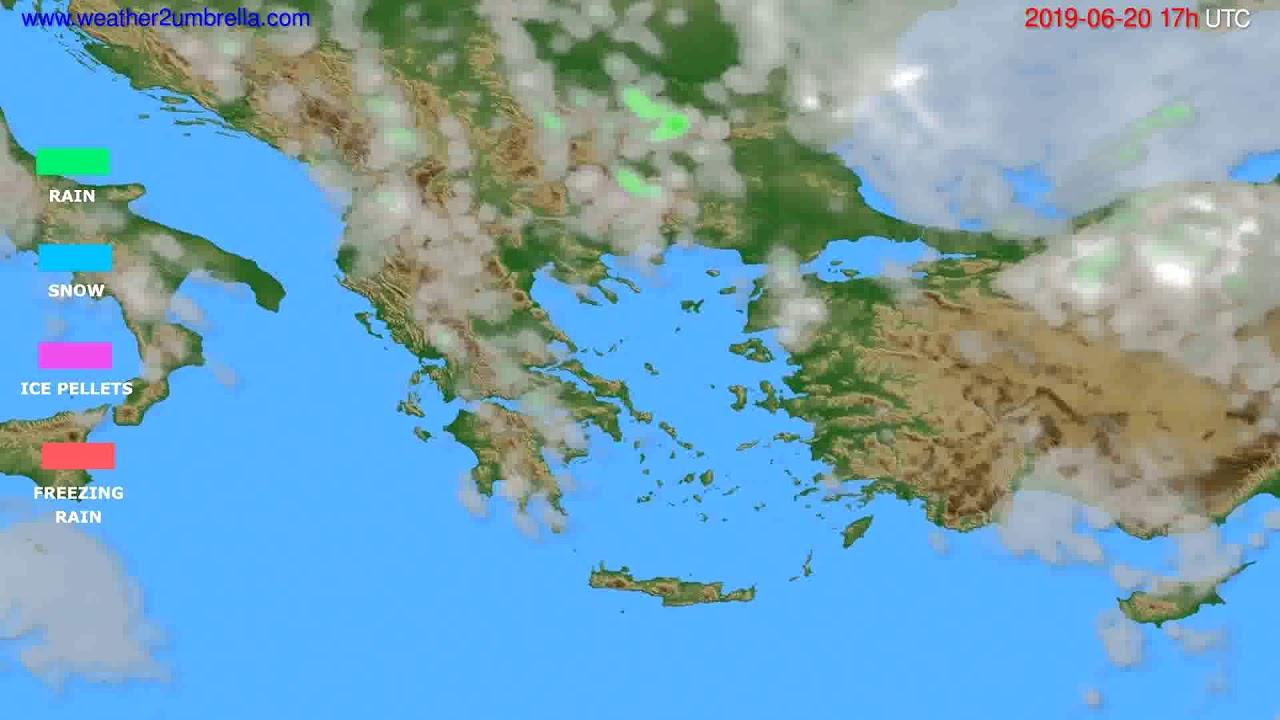 Precipitation forecast Greece // modelrun: 00h UTC 2019-06-19