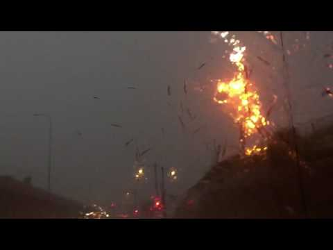 Lightning destroying a telephone pole in last night's storms in Chicago.