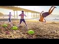INSANE EXERCISE BALL TRICKS AT THE BEACH!