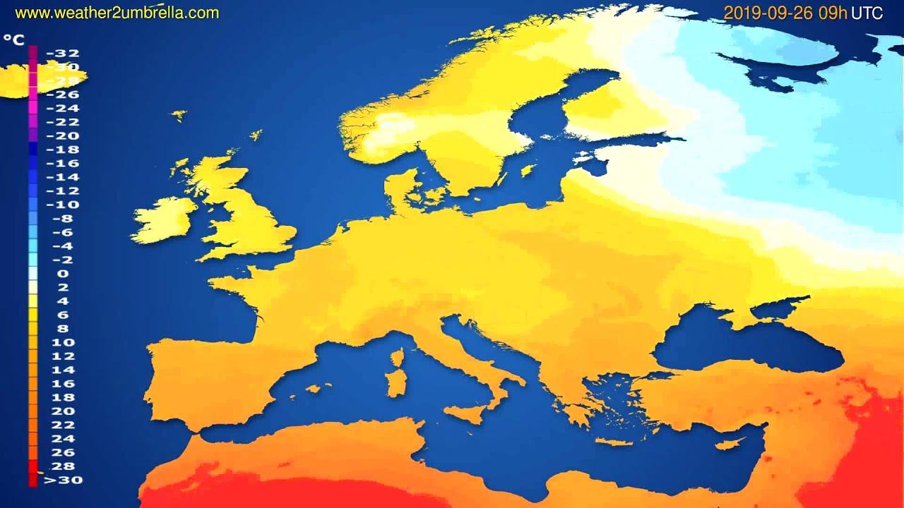 Temperature forecast Europe // modelrun: 00h UTC 2019-09-24