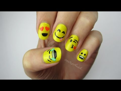Nail - A nail art tutorial using emoji! Are you looking for a fun nail art design? Try out this emoji nail art design! Works great on short nails and long. I would ...