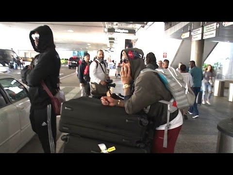 Odell Beckham Jr. And Von Miller At LAX After Partying With Johnny Manziel In Paris