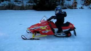 2. Jayden Riding his Polaris 120 Snowmobile at 2 years 10 months old in Wisconsin