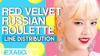 Red Velvet - Russian Roulette Line Distribution (Color Coded)