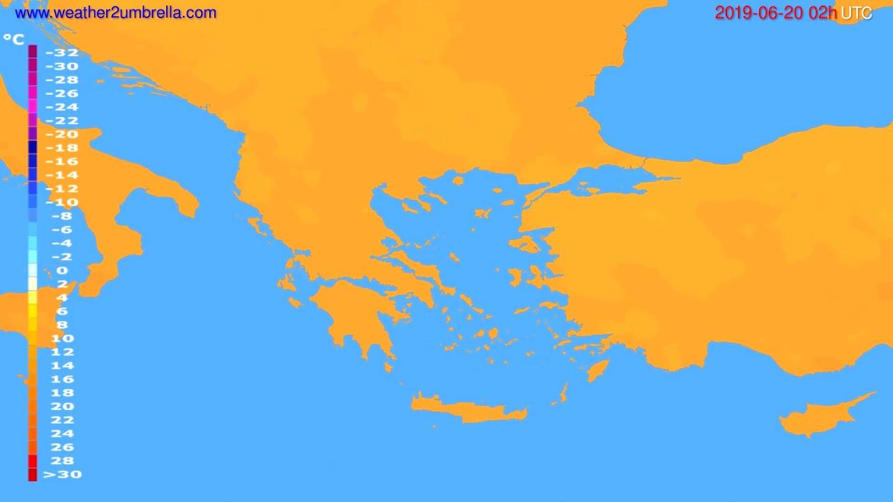 Temperature forecast Greece // modelrun: 12h UTC 2019-06-17