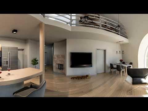 VR 360 Video - Interior Of The Dome House - Living Room