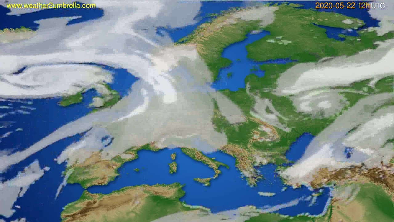 Cloud forecast Europe // modelrun: 00h UTC 2020-05-22