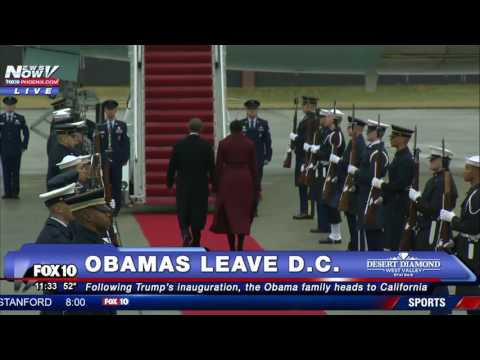 OBAMA'S FINAL WAVE: President Departs Joint Base Andrews for Palm Springs After Trump Inauguration