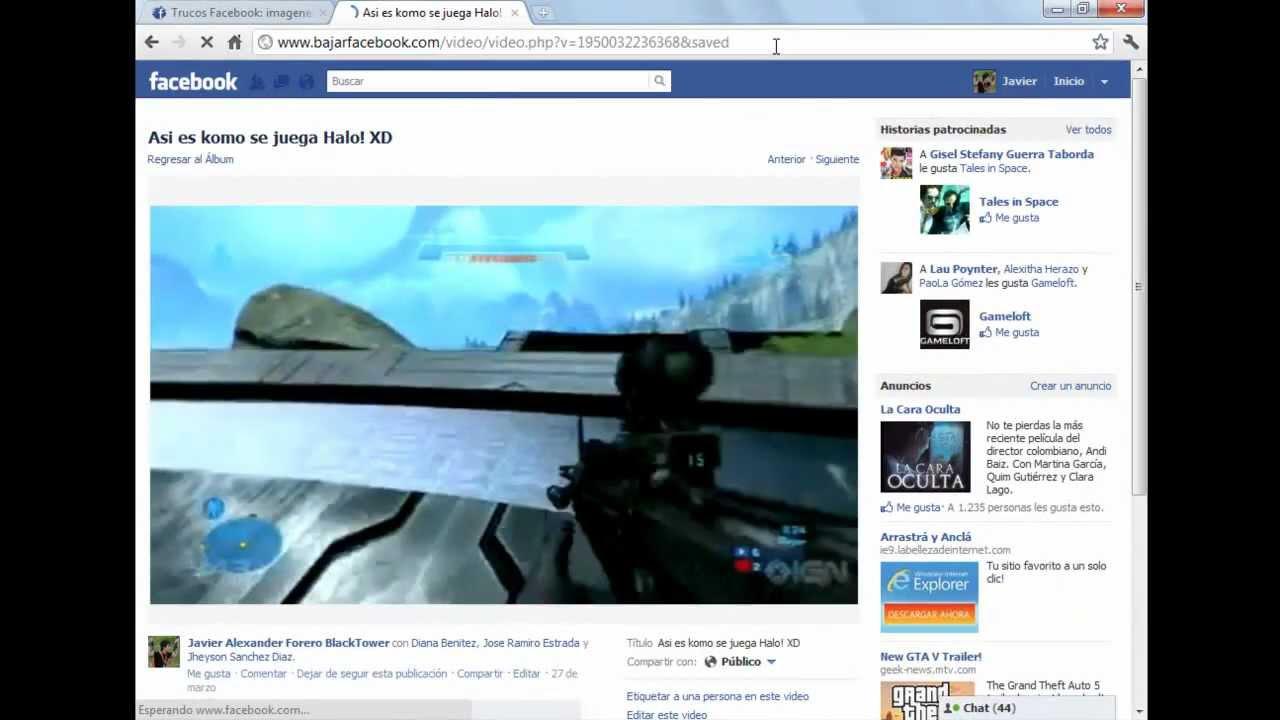 Como descargar videos del nuevo Facebook sin programas .::Trucos Facebook::.