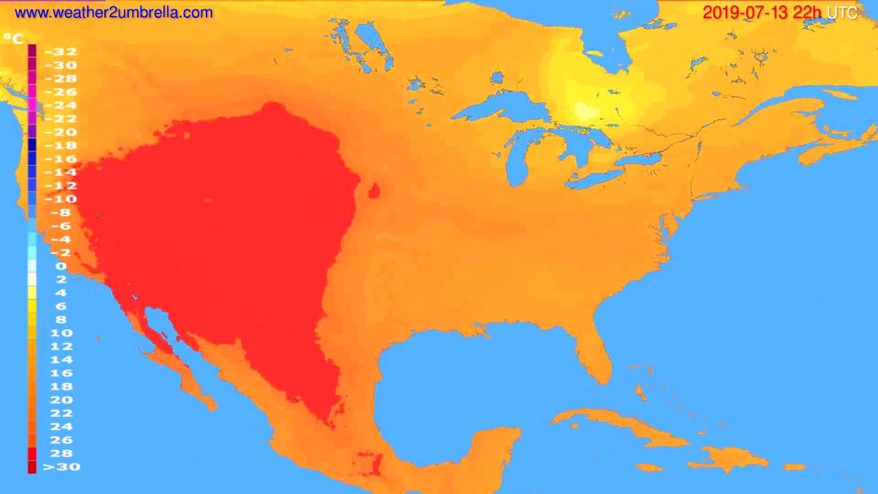 Temperature forecast USA & Canada // modelrun: 12h UTC 2019-07-11
