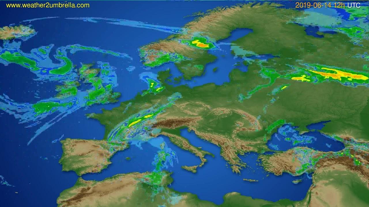 Radar forecast Europe // modelrun: 00h UTC 2019-06-14