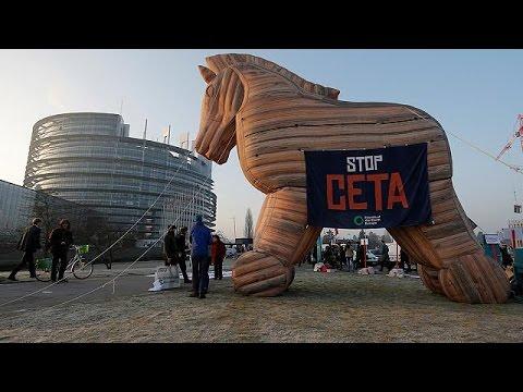 Στρασβούργο: Διαδηλώσεις κατά της εμπορικής συμφωνίας ΕΕ- Καναδά
