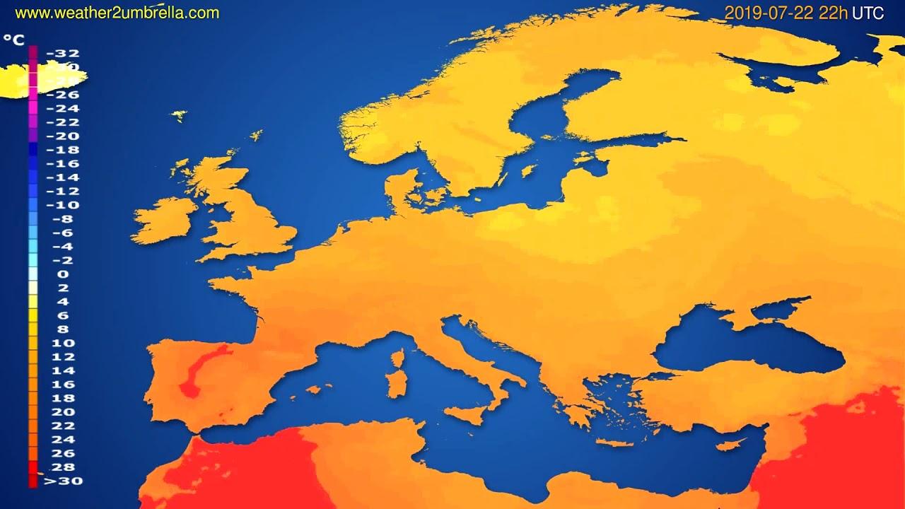 Temperature forecast Europe // modelrun: 12h UTC 2019-07-20